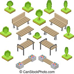 buiten, banken, set., park, bench., pictogram