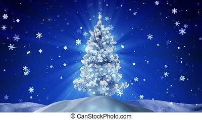 buiten, boompje, loopable, gloeiend, nacht, kerstmis
