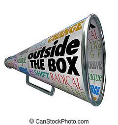 buiten, de doos, megafoon, bullhorn, veranderen, innovatie