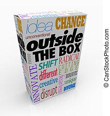 buiten, de doos, woorden, op, product, verpakken, innovatie