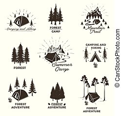 buiten, equipment., kamp, bos, vector, of, tentje, zomer, kamperen, avontuur, logos, bergen., set, elements., badges., illustration., emblems, ouderwetse , ontwerp