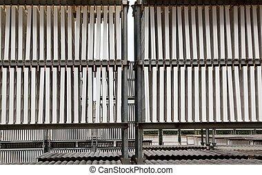 buiten, fabriekshal, industriebedrijven, drogen, plasterboard