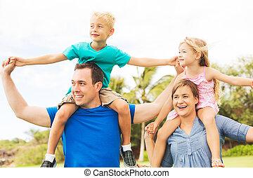 buiten, gezin, vrolijke