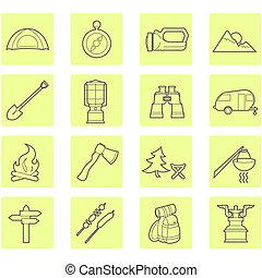 buiten, kamperen, iconen, reismateriaal, set