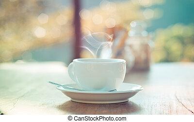 buiten, koffiekop, met, natuurlijke , bokeh, -, ouderwetse ,...