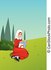 buiten, moslim, illustratie, boek, girl lezen