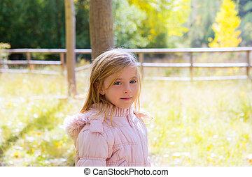 buiten, natuur, herfst, kind, meisje, landscape