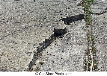 buiten, oud, verweerd, vloer, beton, gebarsten, trottoir