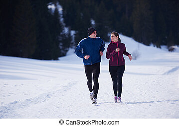 buiten, paar, jogging, sneeuw