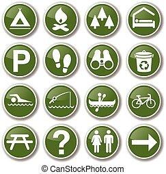 buiten, park, natuur, pictogram, set