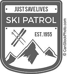 buiten, patrouille, wildernis, logo, monochroom, design., berg, ouderwetse , reizen, avontuur, hipster, getrokken, ski, badge., ontdekkingsreiziger, symbool., hand, label., pictogram, avonturen, emblem., vector, hulp, eerst