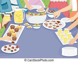 buiten, picknick, familiefeest, tafel, maaltijd