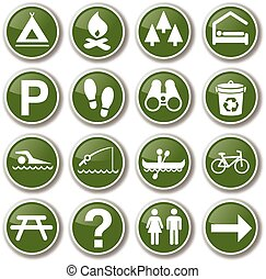 buiten, set, park, natuur, pictogram