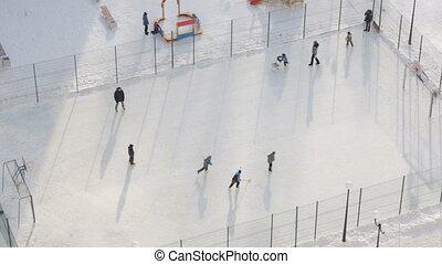 buiten, spelende hockey, kinderen