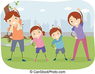 buiten, stickman, gezin, oefening