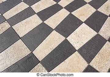 buiten, straat, tegels, met, geometrisch, pattern.the, textuur, van, perspectief, gekleurde, checkered, tegel, in, de, straat.