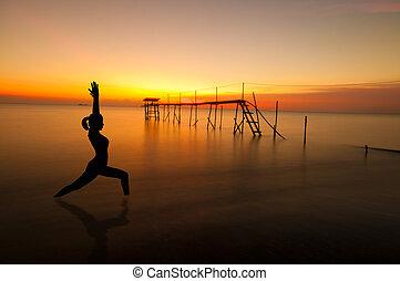 buiten, strand, yoga, silhouette