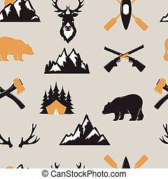buiten, toerist, reizen, verkenner, kentekens, mal, embleem, vector, illustratie, verzameling, seamless, model, achtergrond, beer, en, hertje, dieren, kamperen, badge