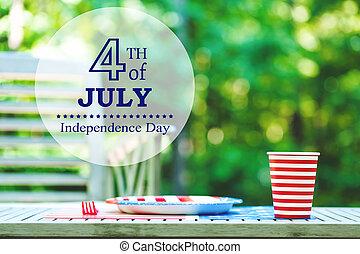 buiten, vatting, vierde, tafel, feestje, juli