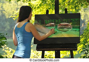 buiten, vrouw, schilderij, werkende