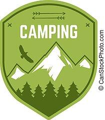 buiten, wildernis, kleur, snowboard, logo, design., berg, winter, kamperen, ouderwetse , reizen, hipster, getrokken, insignia., badge., embleem, ontdekkingsreiziger, symbool., hand, avontuur, label., pictogram, kamp, stamp., vector