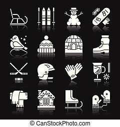 buiten, winter, set, closhes, activiteit, plezier, sportende, pictogram