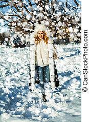 buiten, winter, sneeuw, vrouw, plezier, hebben