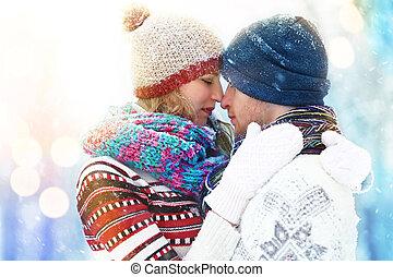 buiten, winter, vacation., paar, paar., snow., plezier, outdoors., hebben, vrolijke