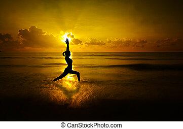 buiten, yoga, vrouw, silhouette