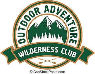 buitene avontuur, badge, met, berg landschap