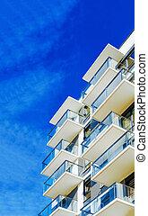 buitenkant, flat, plat, woongebied, gebouw, moderne, detail