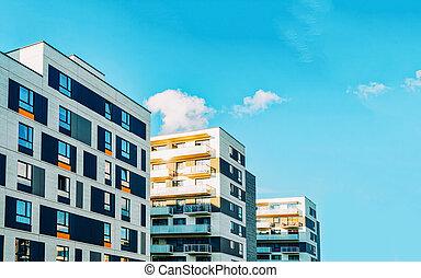 buitenkant, gebouw, woongebied, flat, moderne, detail, plat