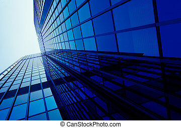 buitenkant, van, glas, woongebied, de bouw., moderne, glas, silhouettes, van, wolkenkrabbers