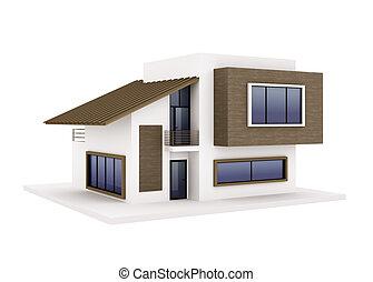 buitenkant, van, moderne, woning