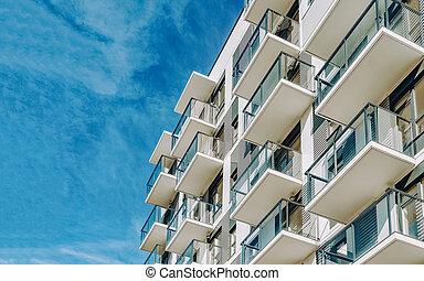 buitenkant, woongebied, gebouw, flat, detail, plat, moderne