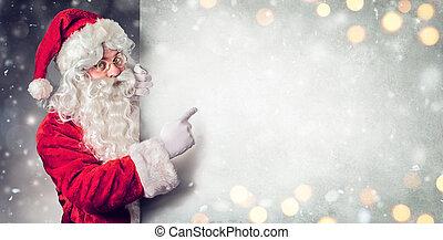 buitenreclame, claus, kerstman, wijzende, leeg