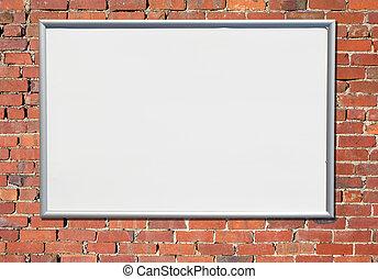 buitenreclame, meldingsbord, op, een, oud, rode baksteen, wall.