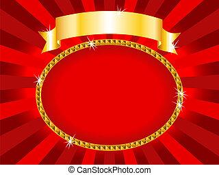 buitenreclame, rood, en, goud