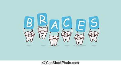 buitenreclame, vasthouden, bretels, teeth