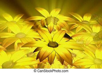 buitenshuis, bloemen, vlinder
