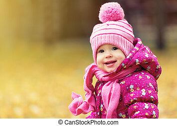 buitenshuis, park, herfst, kind, baby meisje, vrolijke