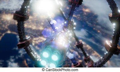 buitenste ruimte, op, planeet, station, internationaal, aarde