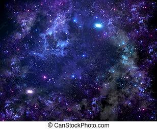 buitenste ruimte, starry hemel, diep, nacht