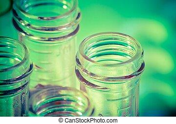 buizen, closeup, vloeistof, test, laboratorium, rood