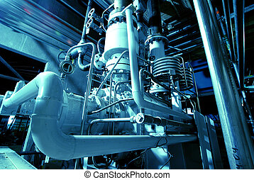 buizen, plant, macht, pijpen, mechanisme, turbine, stoom