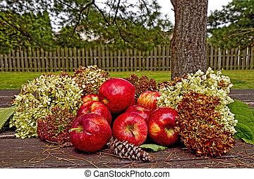 bukás, bemutatás, apples/hydrangeas