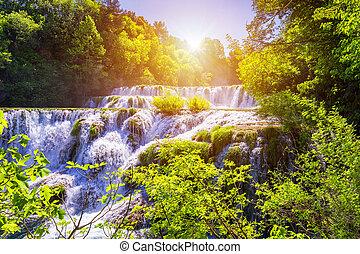 buk, 魔法, 公園, split., dalmatia, krka, 訪問, skradinski, 分裂, croatia, 信じられないい, 場所, europe., croatia., 美しい, 滝, 国民, 滝