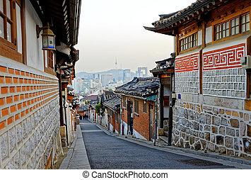 Bukchon Hanok historic district in Seoul at sunset