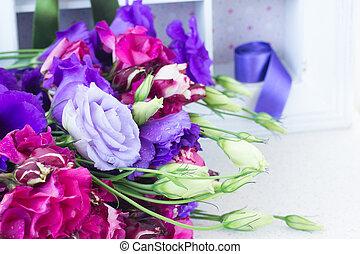 bukett av, blå, och, mauve, eustoma, blomningen