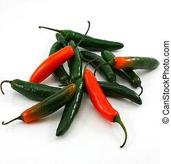 bukett av, serrano, pepprar, paprika, annuum